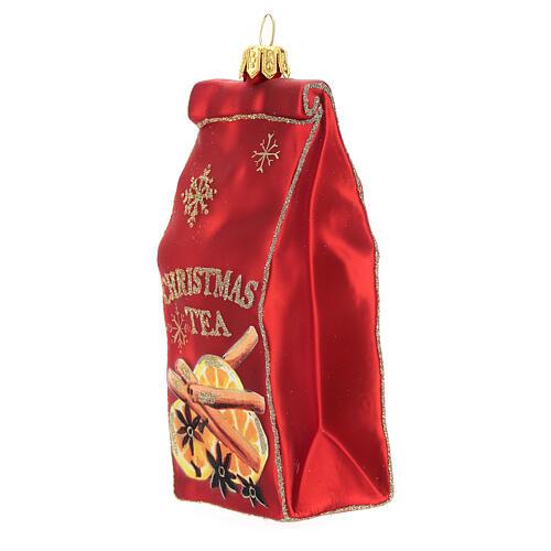 Blown glass Christmas ornament, Tea packet 2