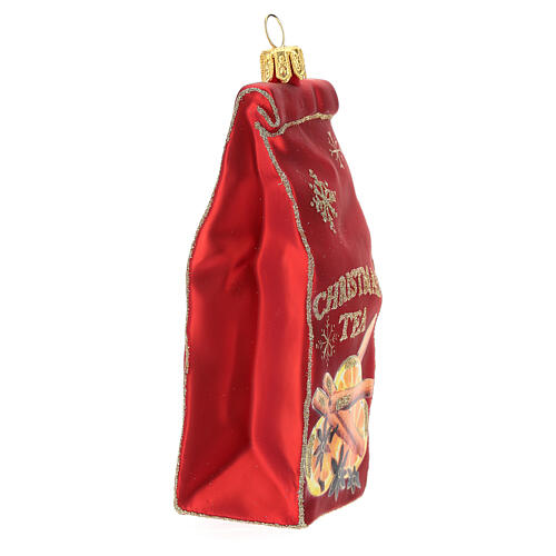 Blown glass Christmas ornament, Tea packet 3