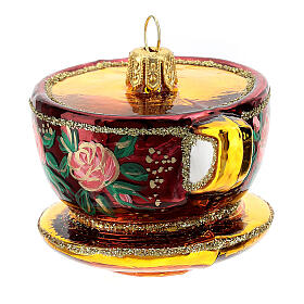 Taza té decorada vidrio soplado decoración árbol Navidad s4