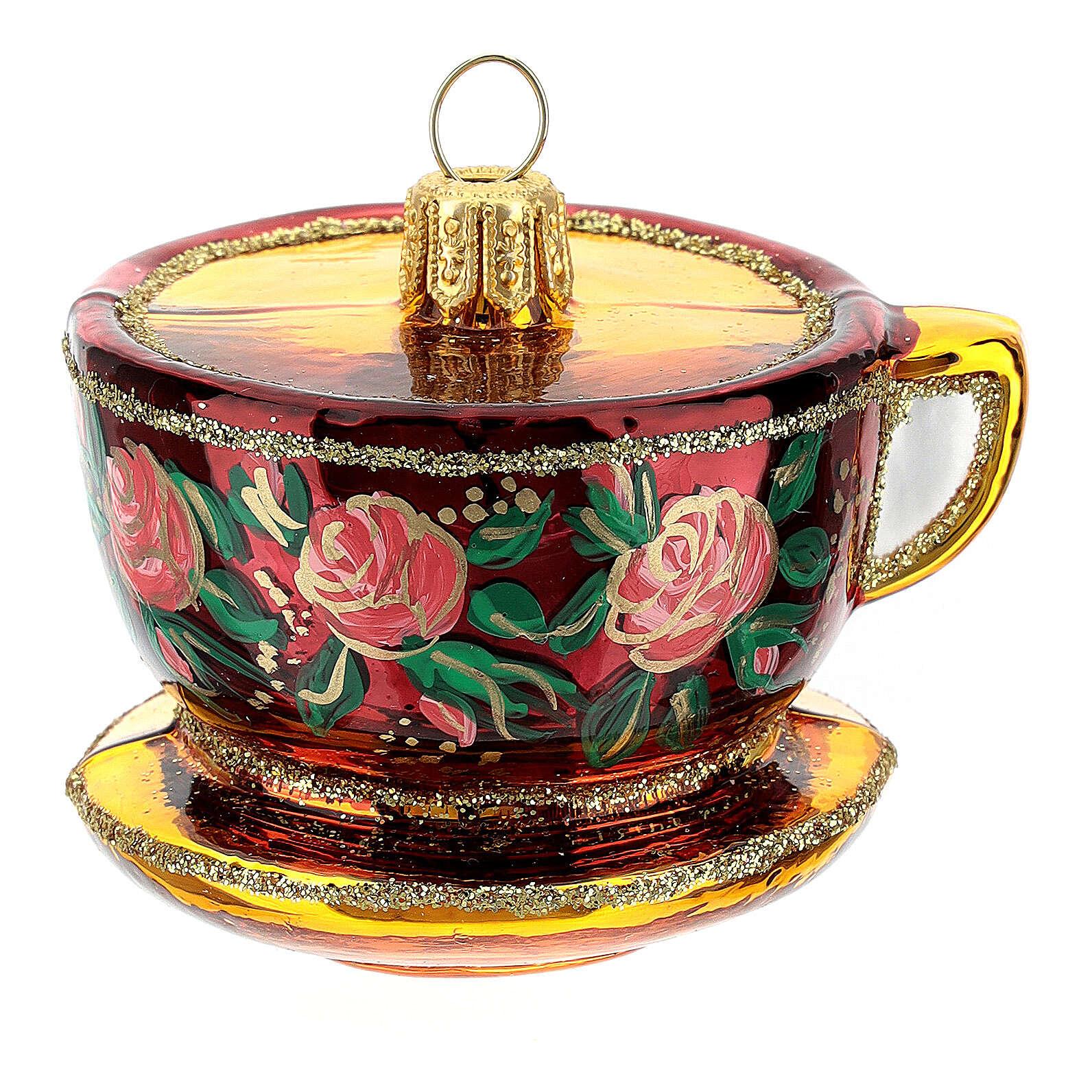 Blown glass Christmas ornament, ornate tea cup 4