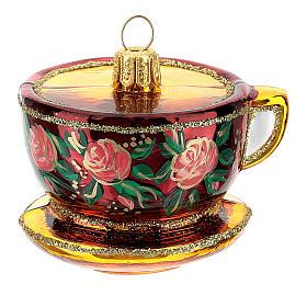 Blown glass Christmas ornament, ornate tea cup s1