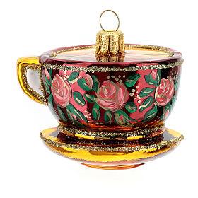 Blown glass Christmas ornament, ornate tea cup s2