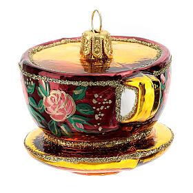 Blown glass Christmas ornament, ornate tea cup s4