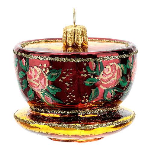 Blown glass Christmas ornament, ornate tea cup 3