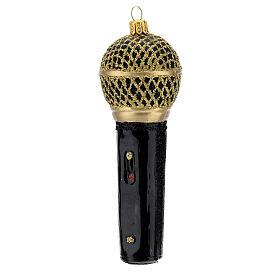 Micrófono negro oro vidrio soplado árbol Navidad s2