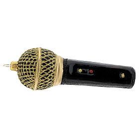 Micrófono negro oro vidrio soplado árbol Navidad s5