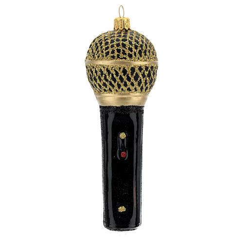 Micrófono negro oro vidrio soplado árbol Navidad 1