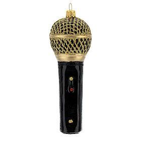Microfono nero oro vetro soffiato albero Natale s1