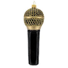Microfono nero oro vetro soffiato albero Natale s4