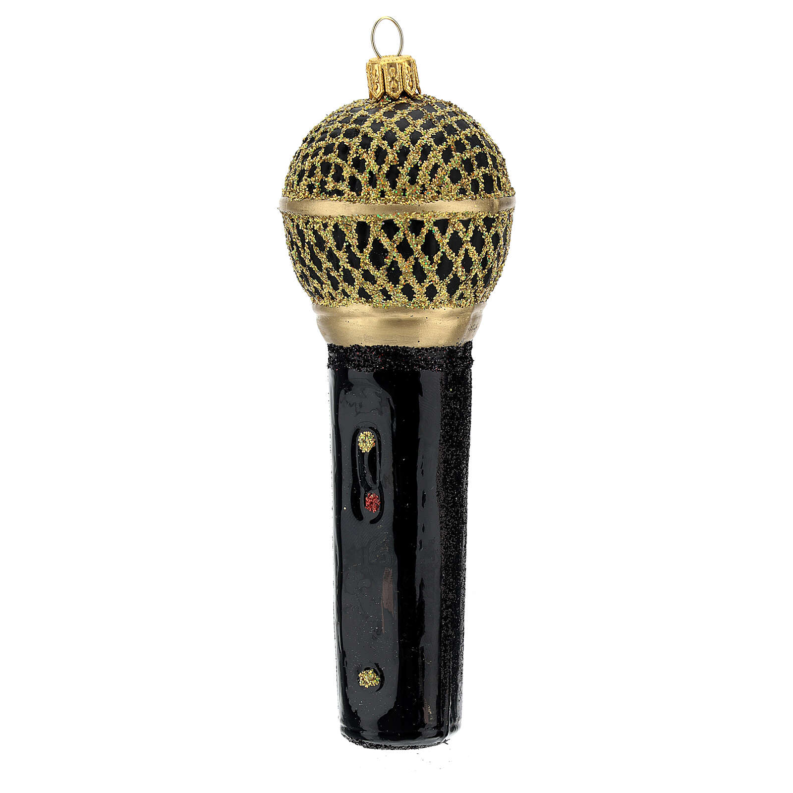 Microfone preto e ouro enfeite vidro soprado para árvore Natal 4