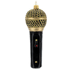 Microfone preto e ouro enfeite vidro soprado para árvore Natal s1