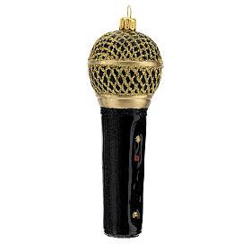 Microfone preto e ouro enfeite vidro soprado para árvore Natal s3