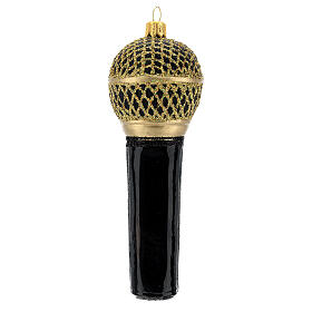Microfone preto e ouro enfeite vidro soprado para árvore Natal s4
