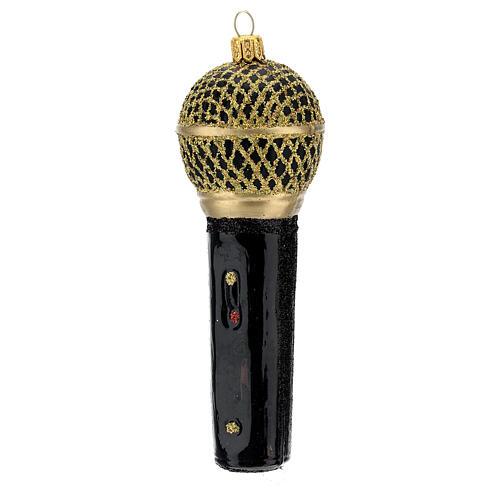 Microfone preto e ouro enfeite vidro soprado para árvore Natal 2