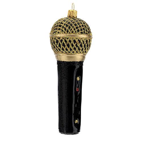 Microfone preto e ouro enfeite vidro soprado para árvore Natal 3