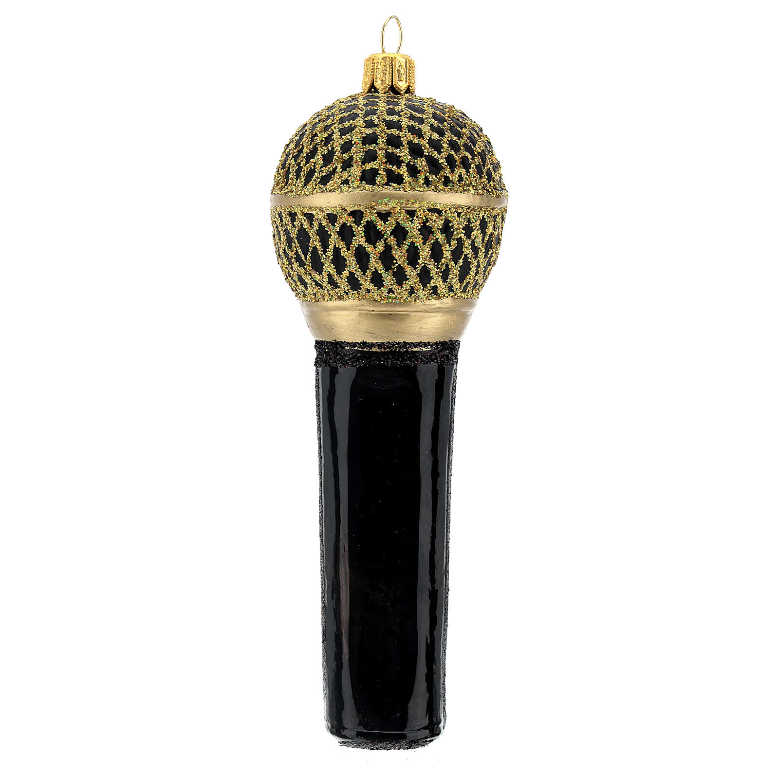 Blown glass Christmas ornament, microphone in black gold 4