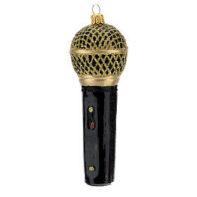Blown glass Christmas ornament, microphone in black gold s2