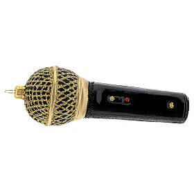 Blown glass Christmas ornament, microphone in black gold s5
