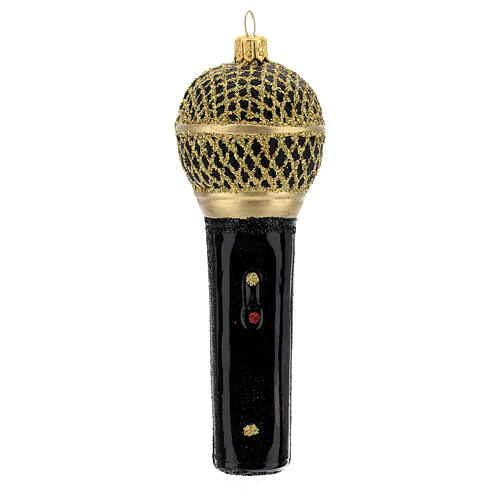 Blown glass Christmas ornament, microphone in black gold 1
