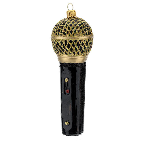 Blown glass Christmas ornament, microphone in black gold 2
