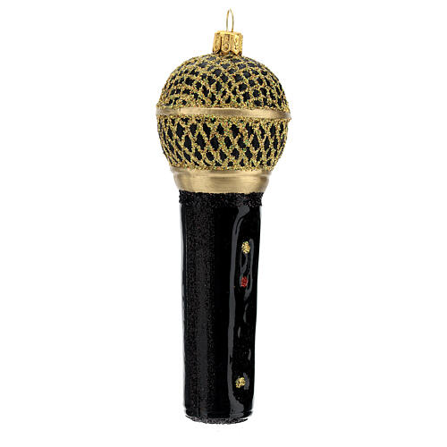 Blown glass Christmas ornament, microphone in black gold 3