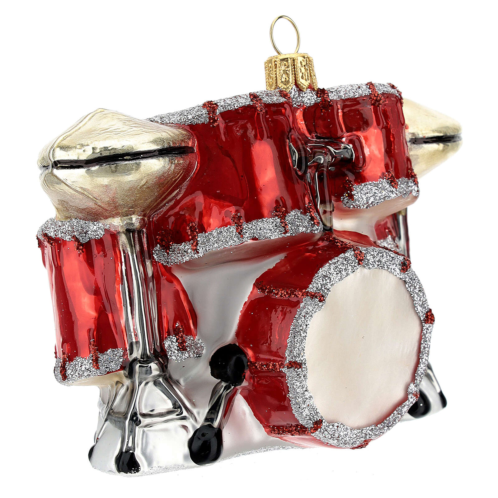 Blown glass Christmas ornament, drum set 4