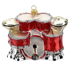Blown glass Christmas ornament, drum set s1