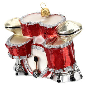Blown glass Christmas ornament, drum set s2
