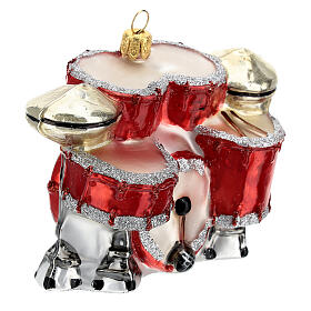 Blown glass Christmas ornament, drum set s3