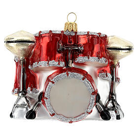 Blown glass Christmas ornament, drum set s4