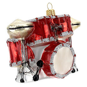 Blown glass Christmas ornament, drum set s5