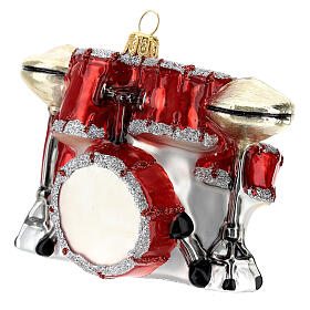 Blown glass Christmas ornament, drum set s6