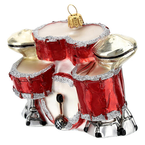 Blown glass Christmas ornament, drum set 2