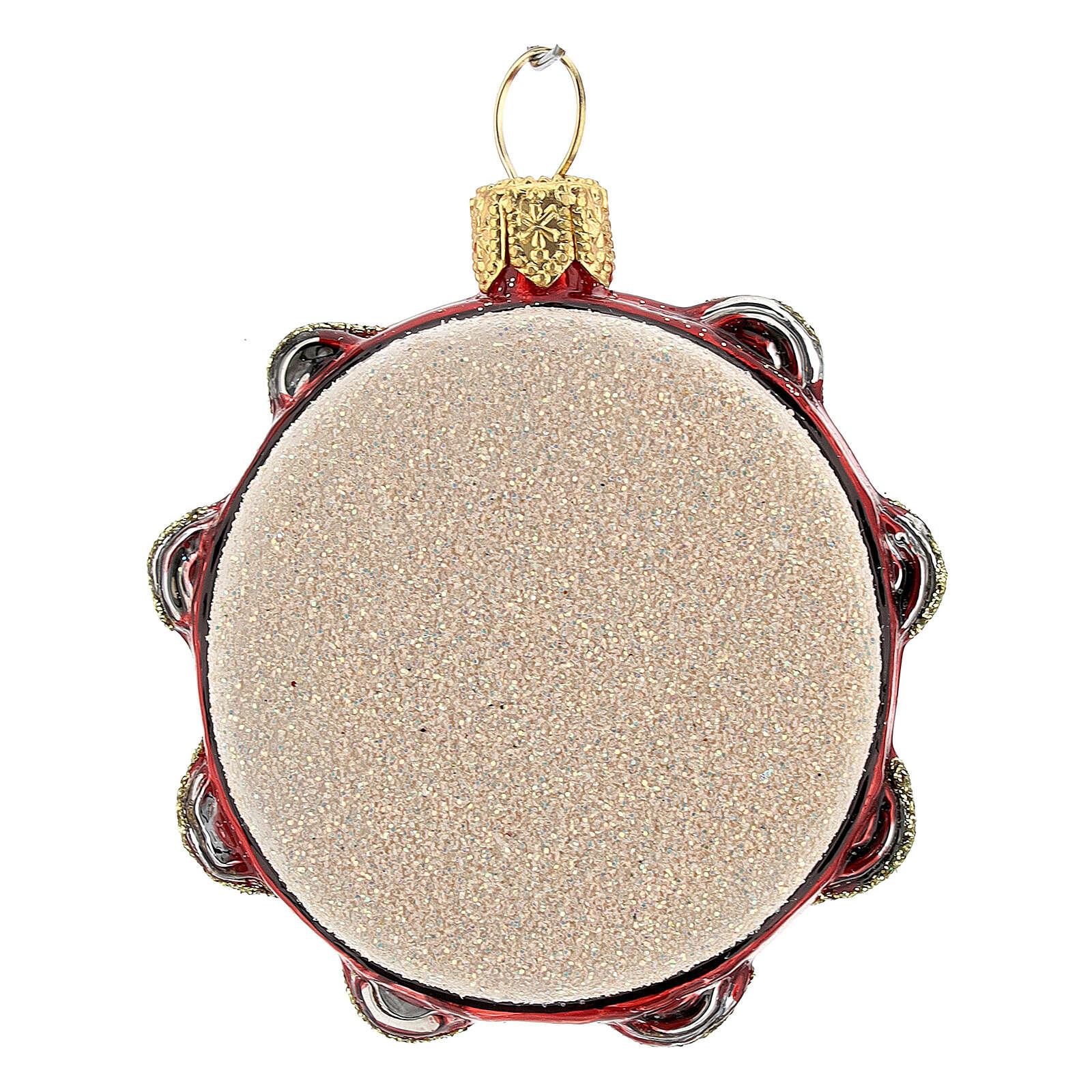 Tambourine blown glass Christmas tree decoration 4