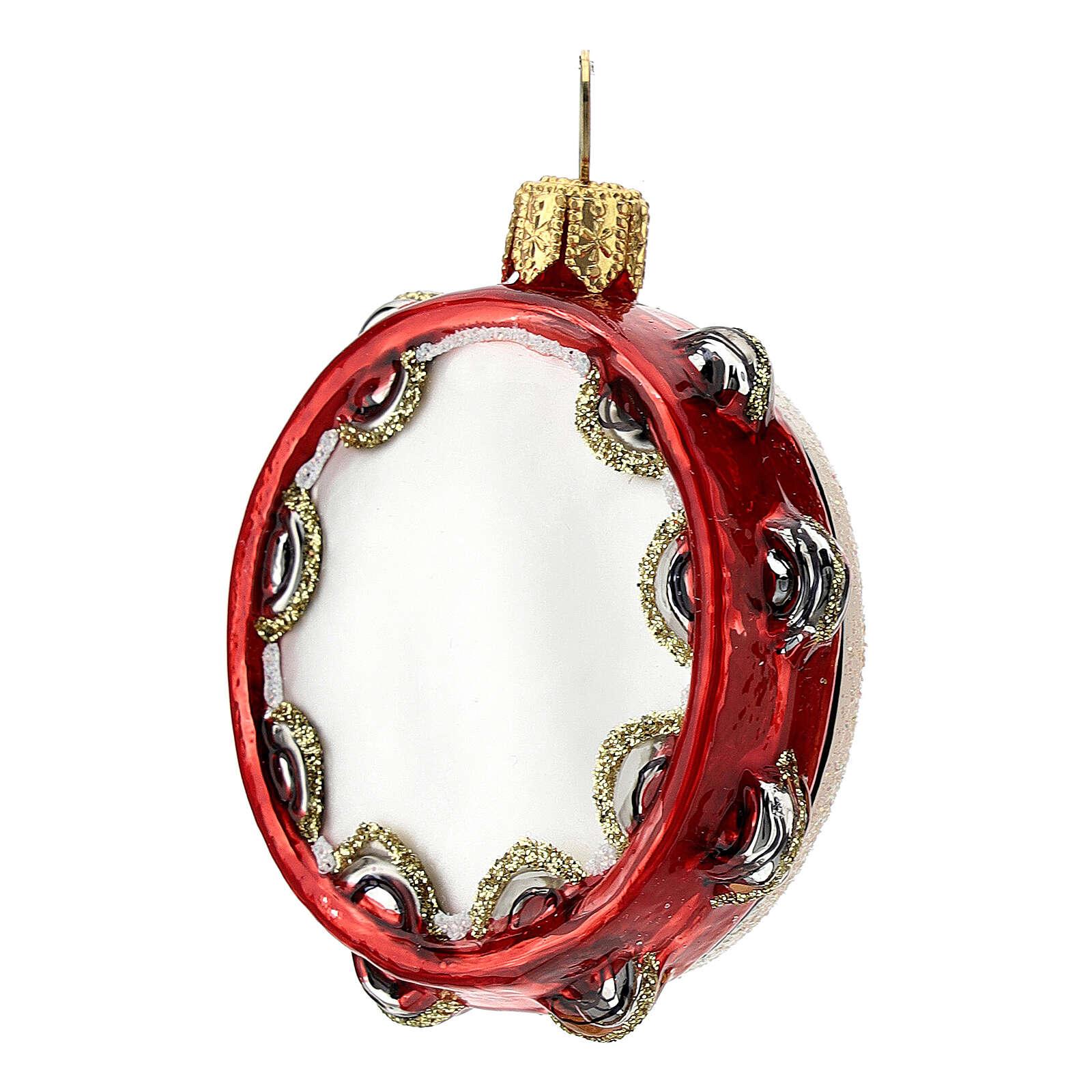 Pandereta vidrio soplado decoración árbol Navidad 4