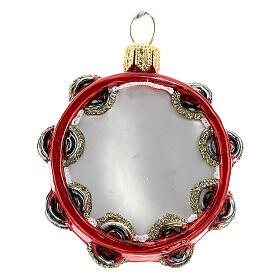 Pandereta vidrio soplado decoración árbol Navidad s1