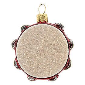 Pandereta vidrio soplado decoración árbol Navidad s4