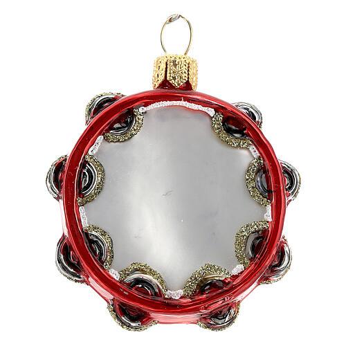 Pandereta vidrio soplado decoración árbol Navidad 1
