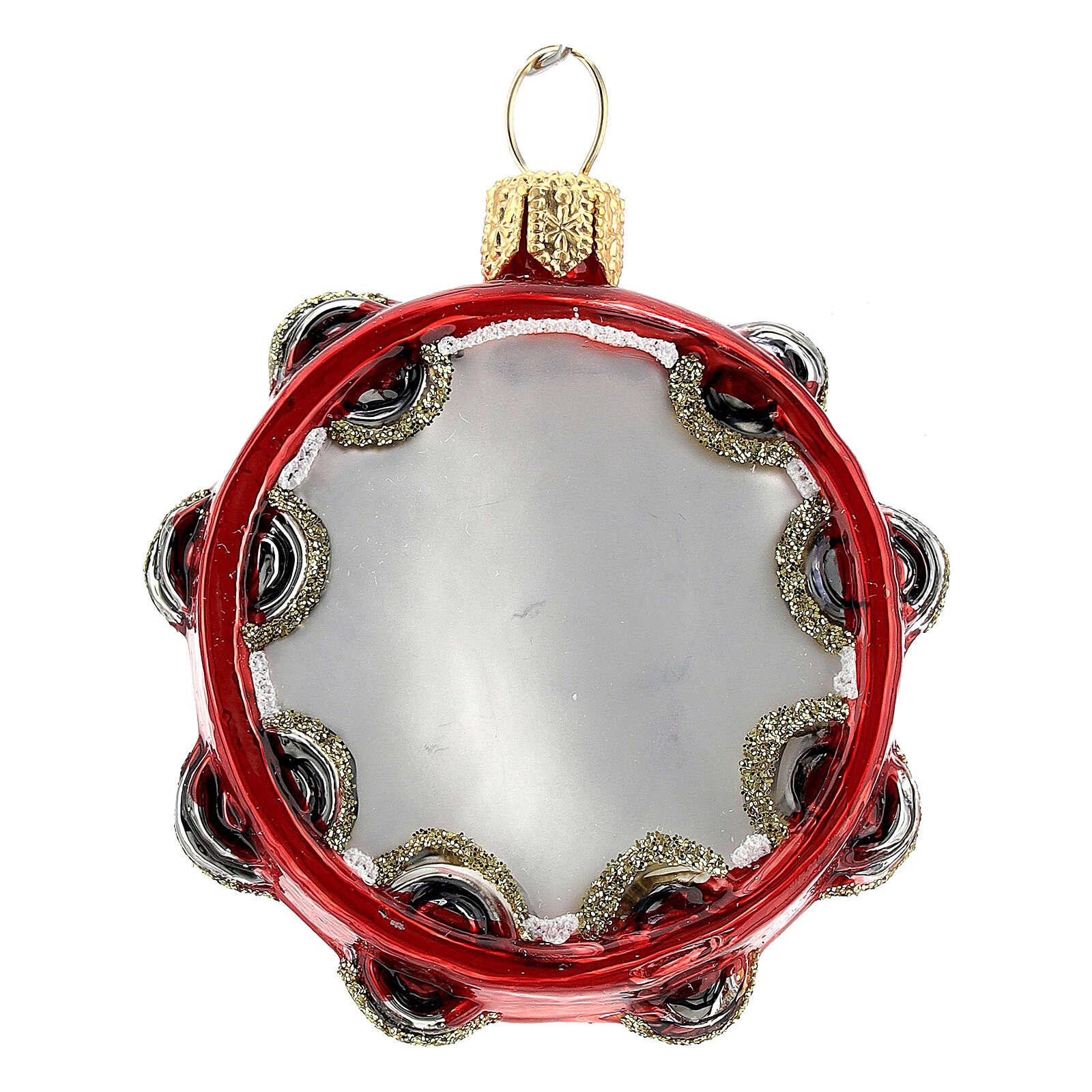 Tamburello vetro soffiato decoro albero Natale 4