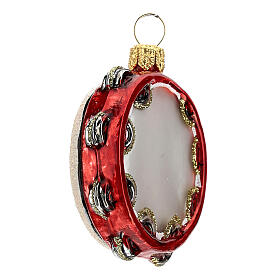 Blown glass Christmas ornament, tambourine s3