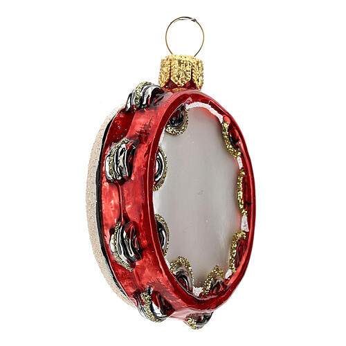 Blown glass Christmas ornament, tambourine 3