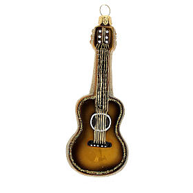 Acoustic Guitar blown glass Christmas tree decoration s1
