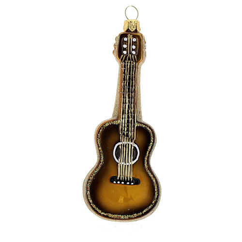 Acoustic Guitar blown glass Christmas tree decoration 1