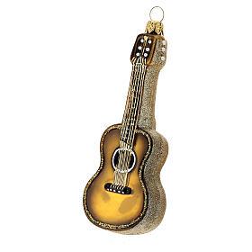 Guitare acoustique verre soufflé décoration sapin Noël s2