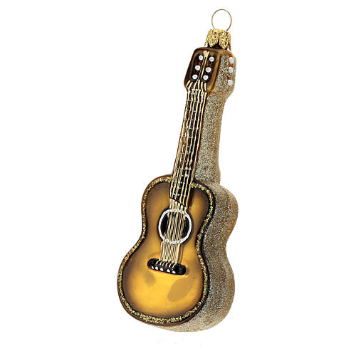 Blown glass Christmas ornament, acoustic guitar 2