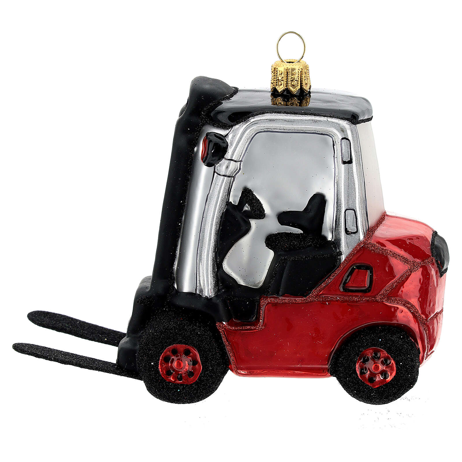 Blown glass forklift, Christmas tree decoration 4