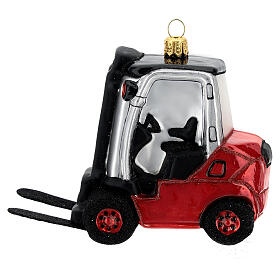 Blown glass forklift, Christmas tree decoration s1