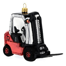 Blown glass forklift, Christmas tree decoration s3