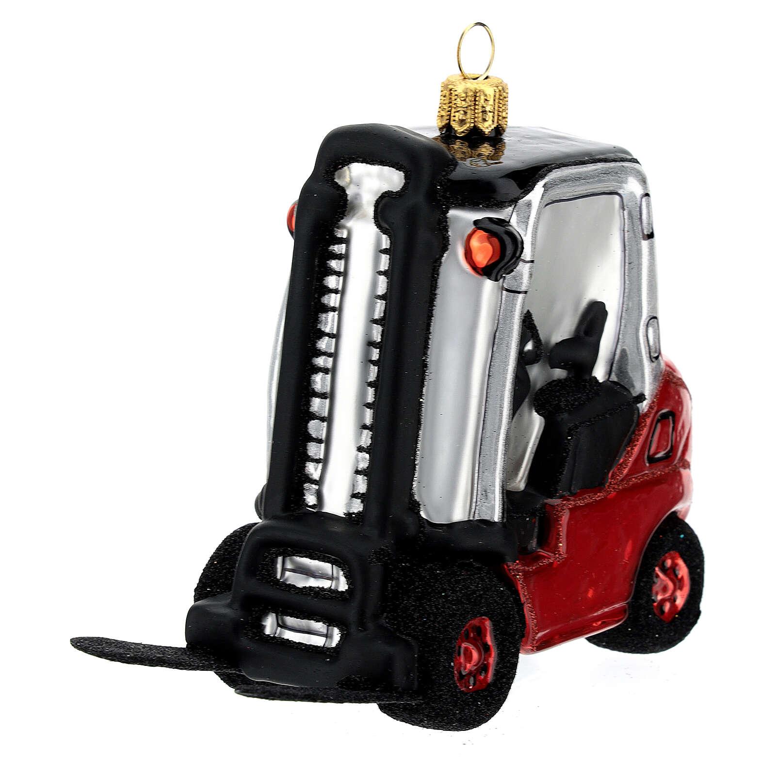 Chariot élévateur verre soufflé décoration sapin Noël 4