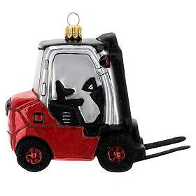 Chariot élévateur verre soufflé décoration sapin Noël s4